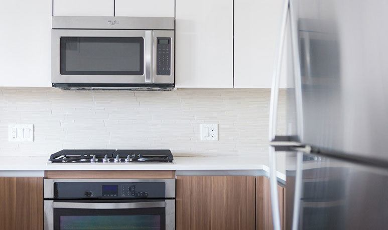 Stainless steel appliances at the apartments in Chicago