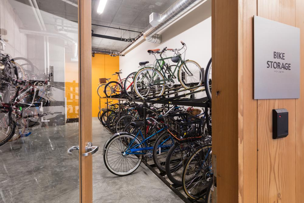 Our environmentally friendly apartments feature bike storage and maintenance stations