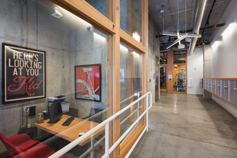 Office hall, and bike storage at Lower Burnside in Portland