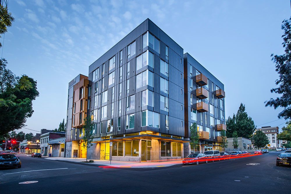 Our Portland apartments give off a sleek city vibe at night