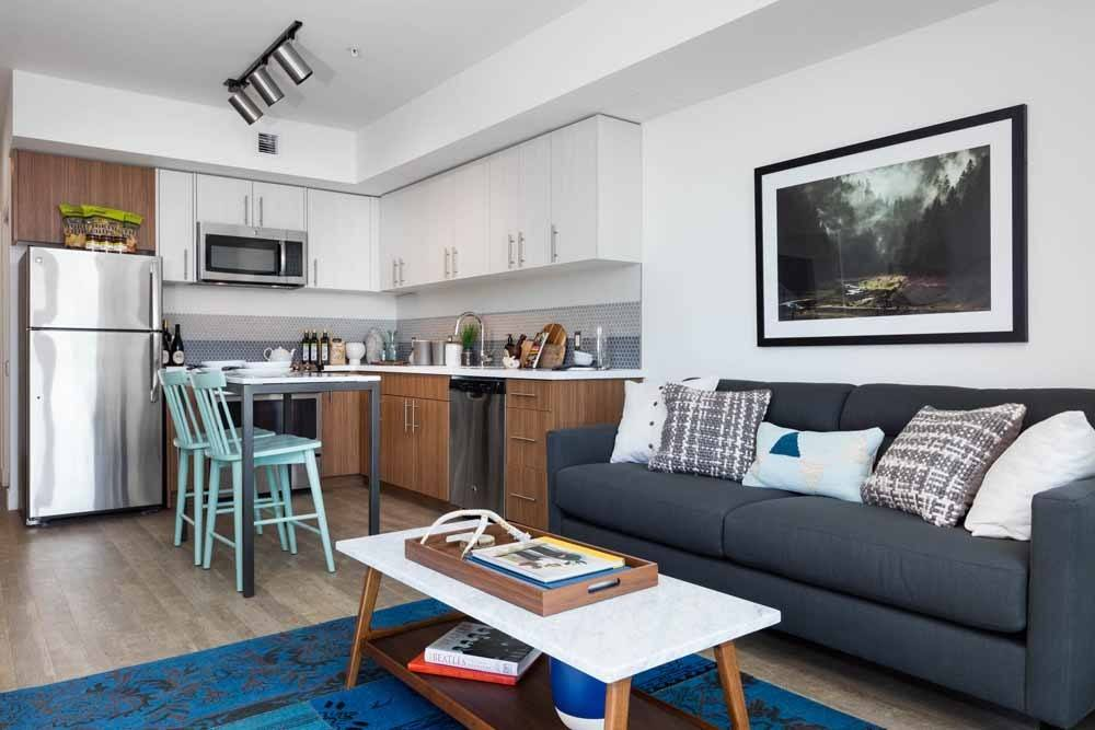 Spacious living room area at Cook Street Apartments