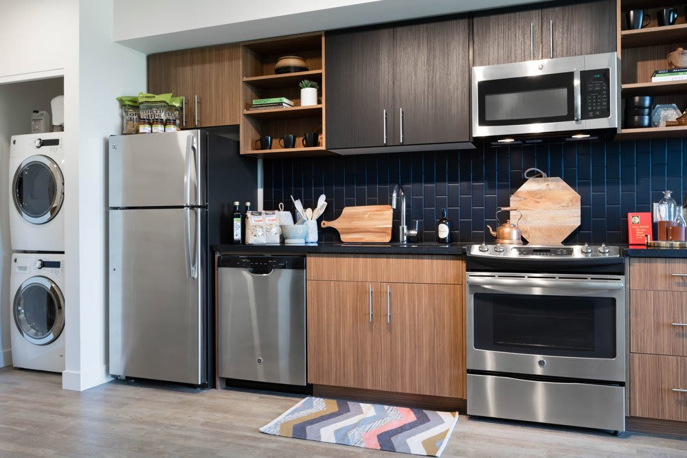 Chef-style kitchen at Cook Street Apartments