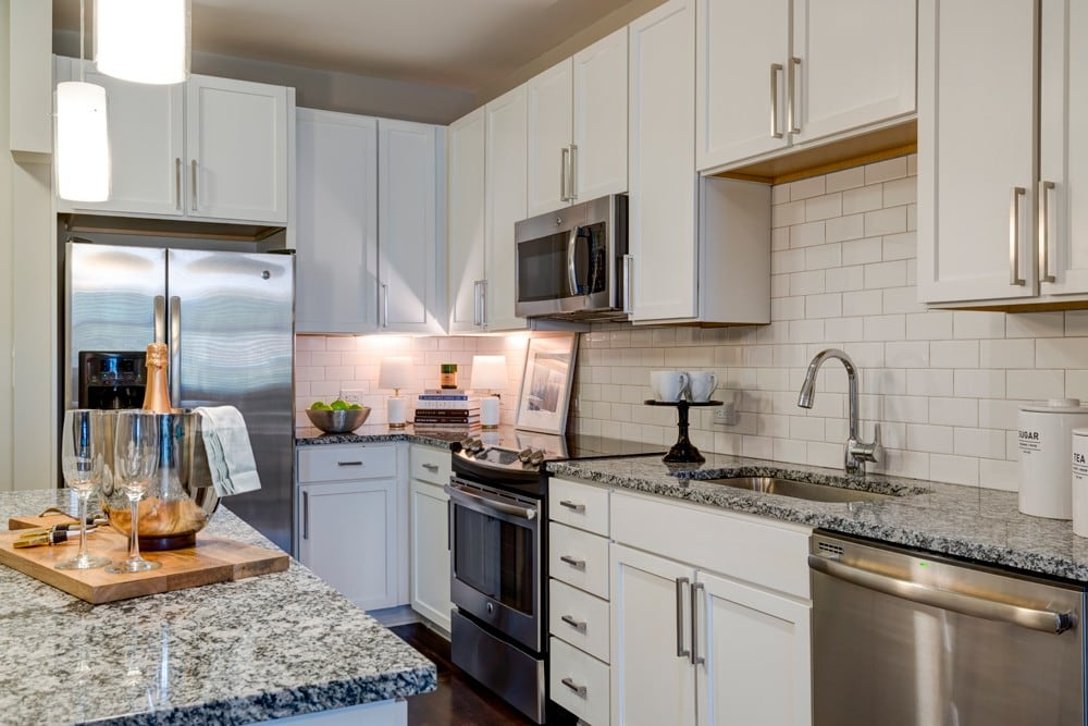 Granite countertops and stainless steel appliances at Berkshire Dilworth in  Charlotte NC