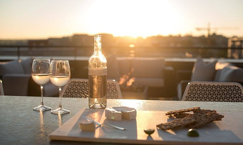 Rooftop dining with a beautiful view of Washington, DC