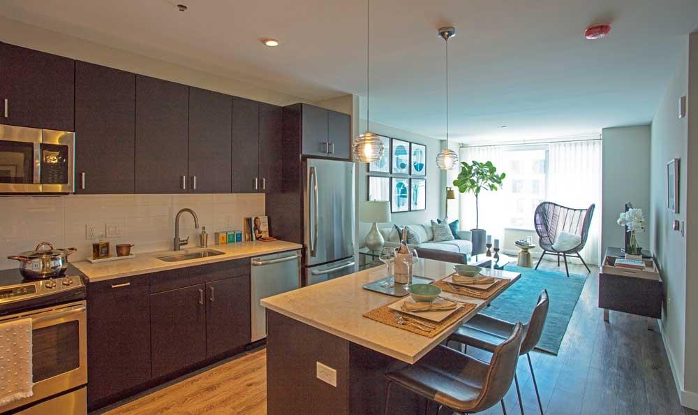 Example kitchen at VIA Seaport Residences