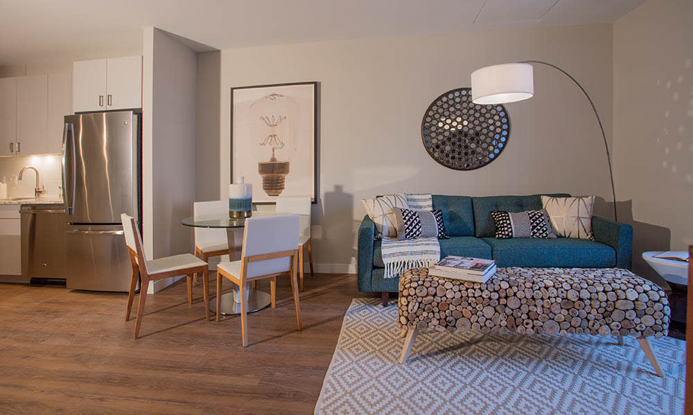 Apartments with hardwood flooring at VIA Seaport Residences