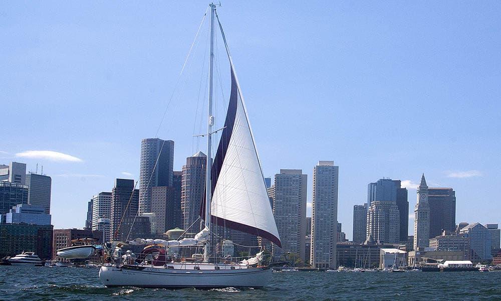 Wind sailing in the water in Boston, MA