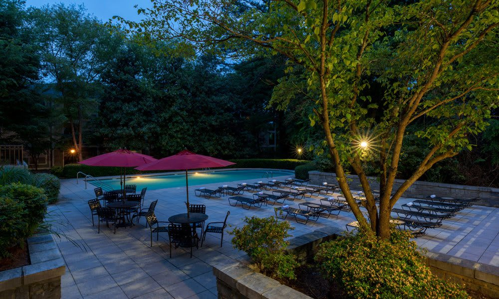 Pool Area at Night at The Berkshires at Lenox Park