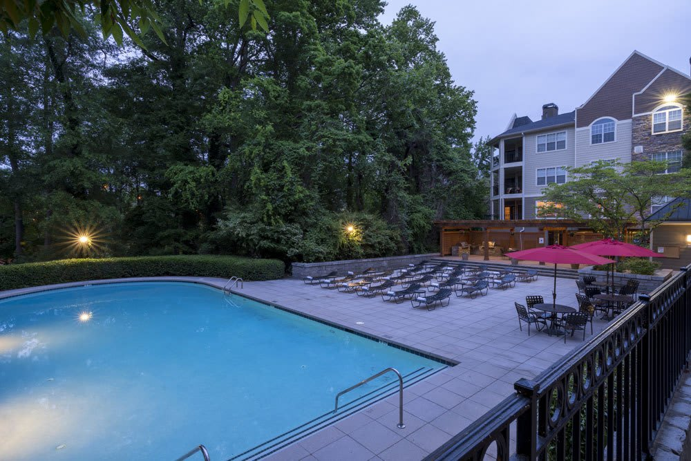 Evening Pool Area at The Berkshires at Lenox Park