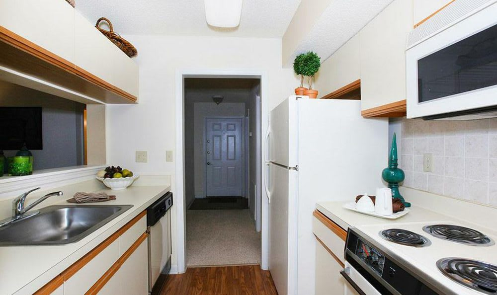 Interior view of the kitchen at our Orlando apartments