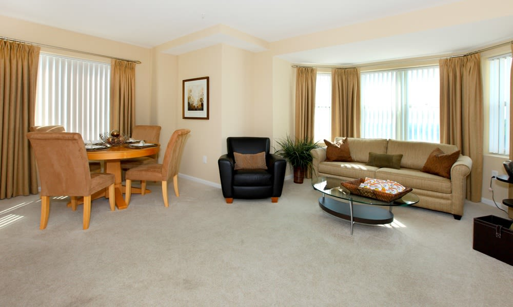 Model Living Room at Quincy Apartments