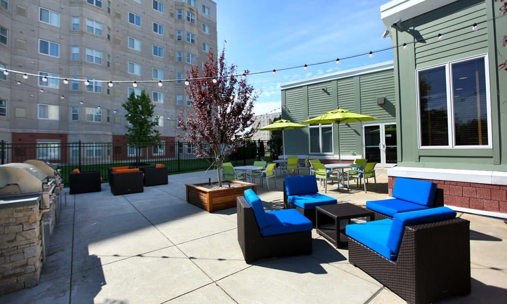 Enjoy a patio retreat at the apartments in Quincy
