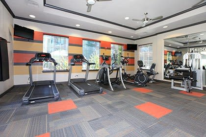 The fitness center at our Fairfield apartments