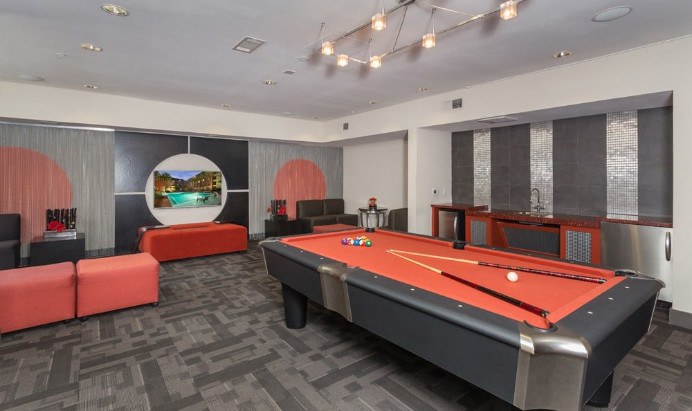 Pool table amenities at our Houston apartments