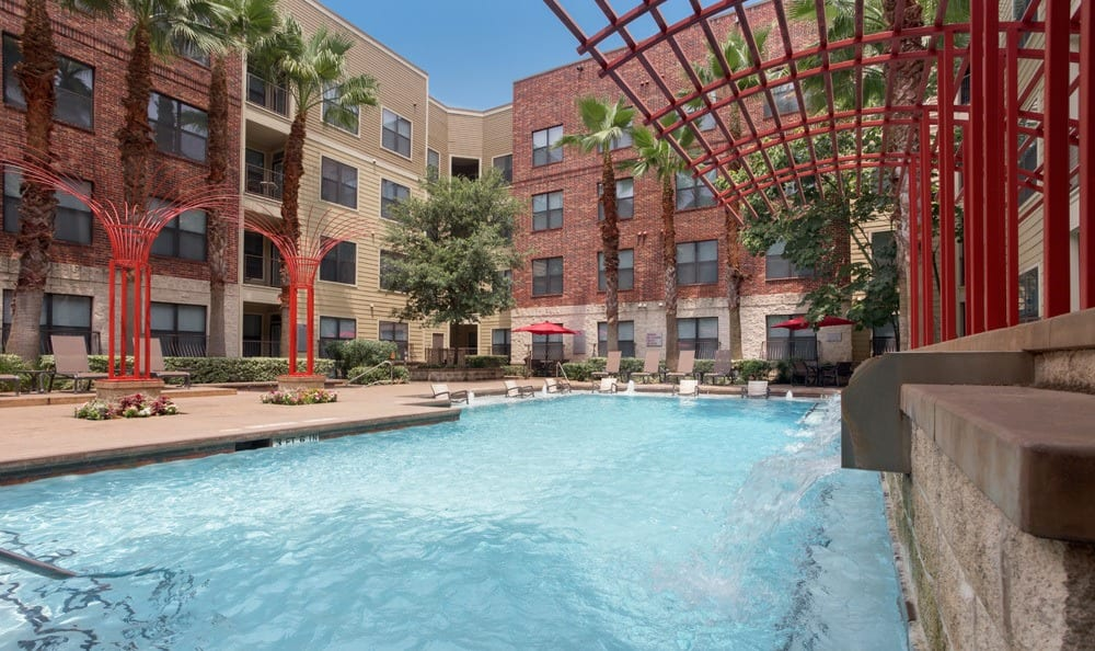 Nice blue pool at our Houston, TX apartments