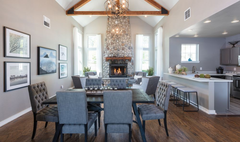 Beautiful fireplace and dining room in our Snoqualmie, WA apartments
