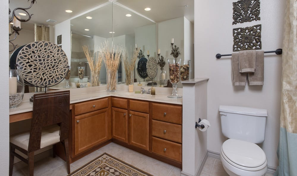 Elegant bathroom at apartments in Dallas