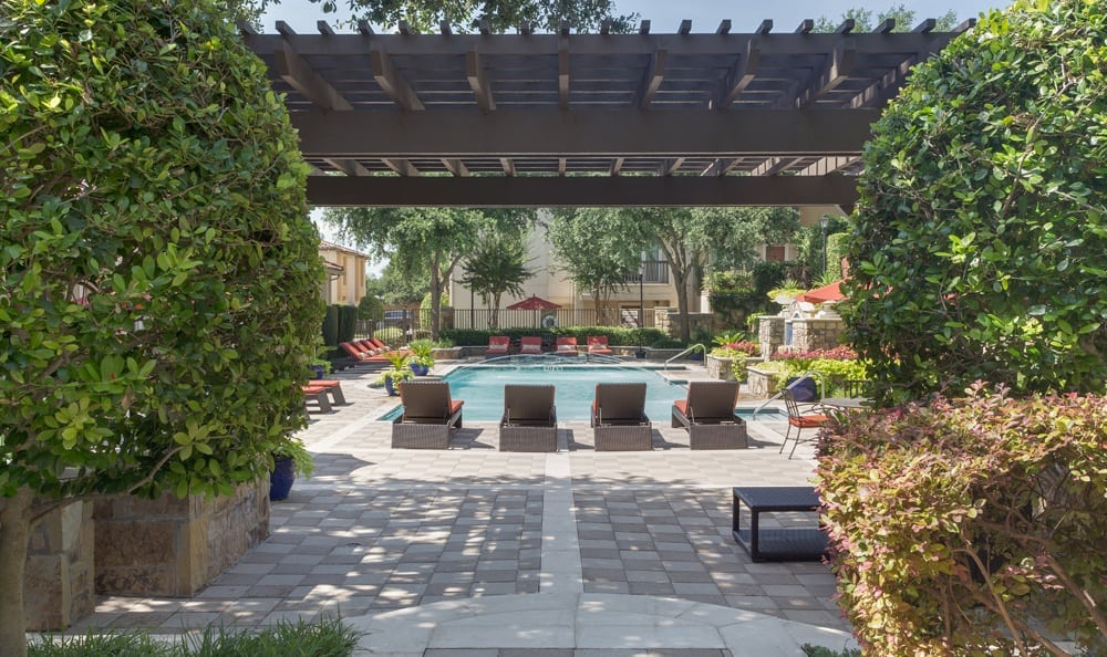 Pool area at Estancia Townhomes