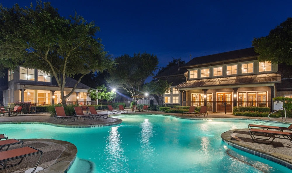 Night shot of our pool at our Austin, TX apartments