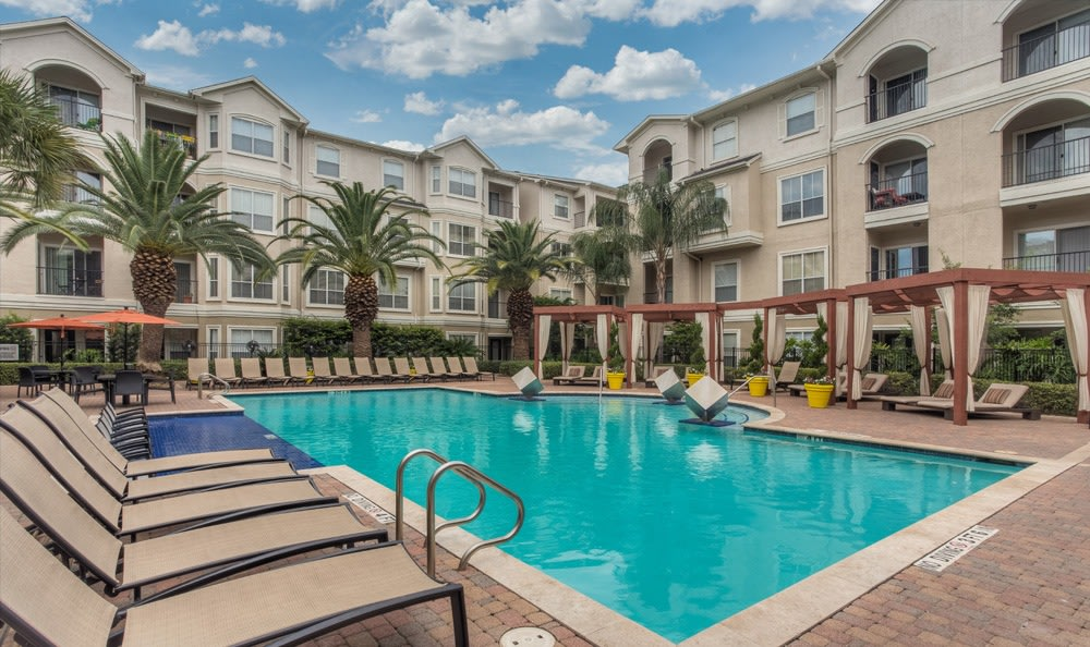 Poolside amenities at our Houston apartments