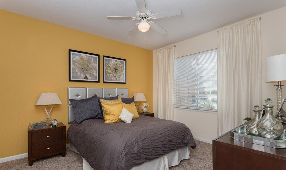 A look inside the bedroom at our Thornton CO apartments