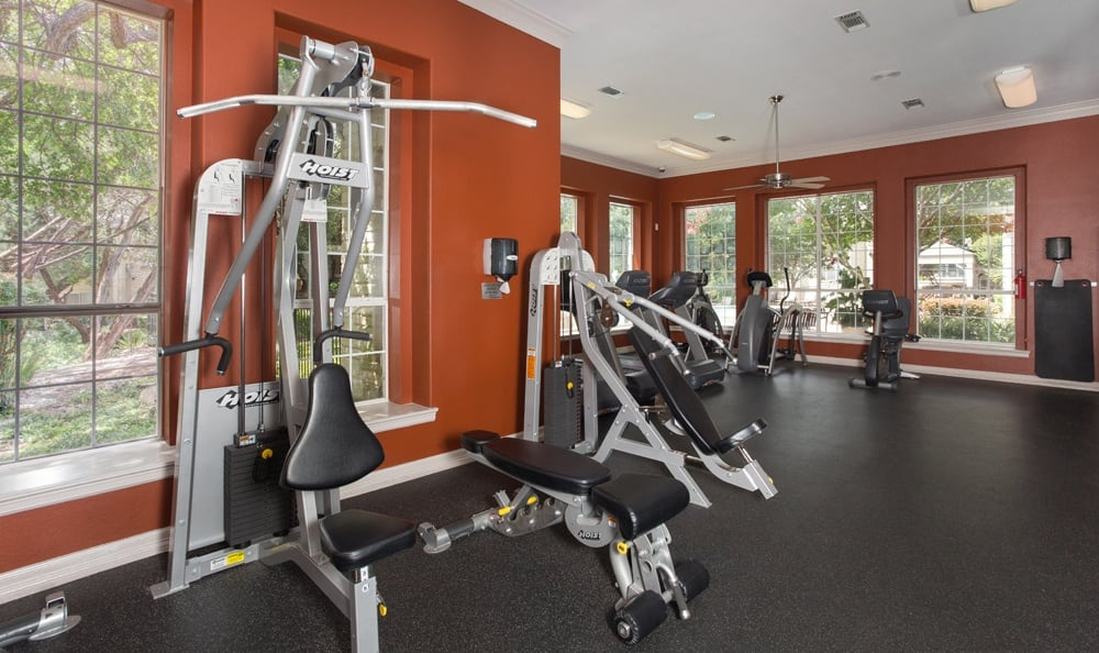 Full fitness center at Austin apartments