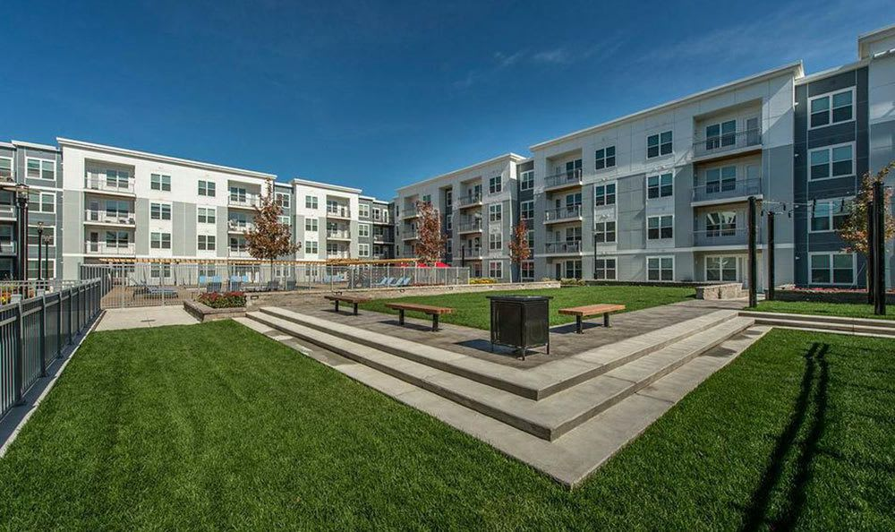 The courtyard at our Watertown apartments