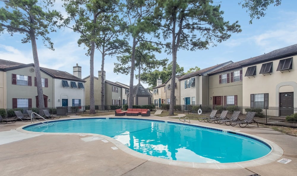 Sparkling blue pool at our Houston apartments