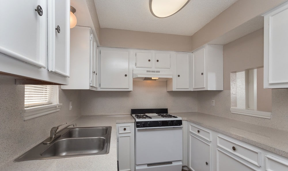 A view of our Houston apartment kitchen