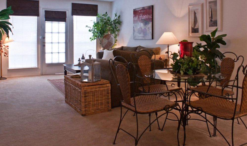 Living room and dining table at our Houston apartments