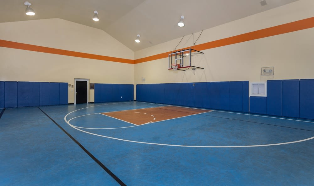 Indoor basketball court in Houston apartments
