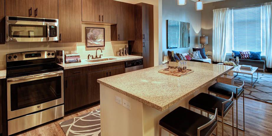 Enjoy the beautiful kitchen amenities at Main Street