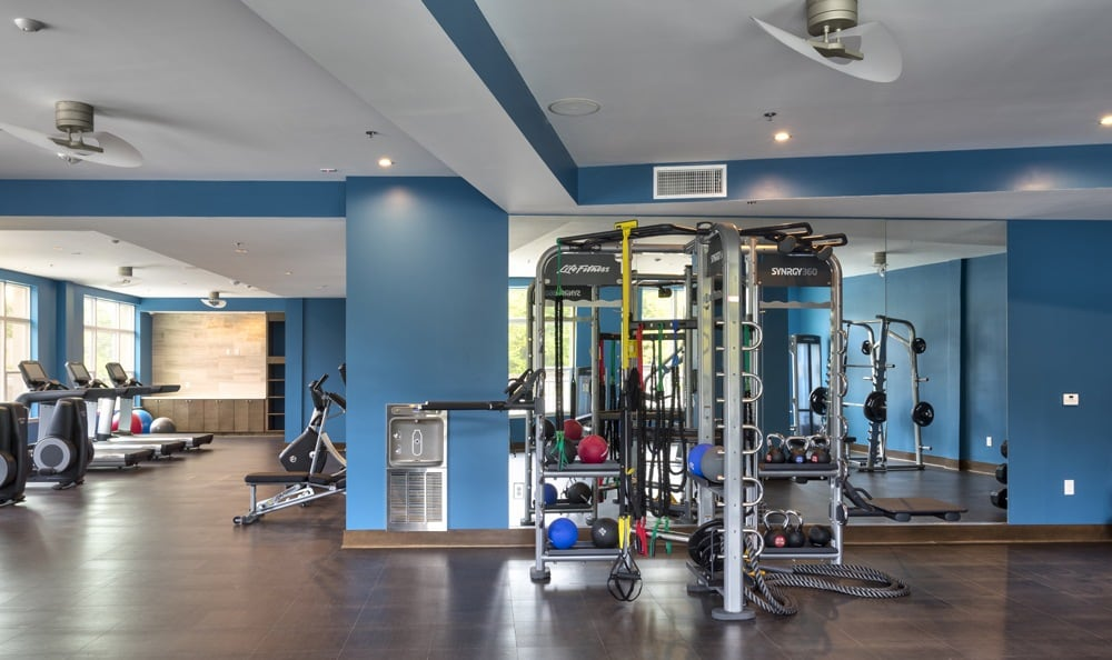 Fully equipped gym at luxury Durham apartments