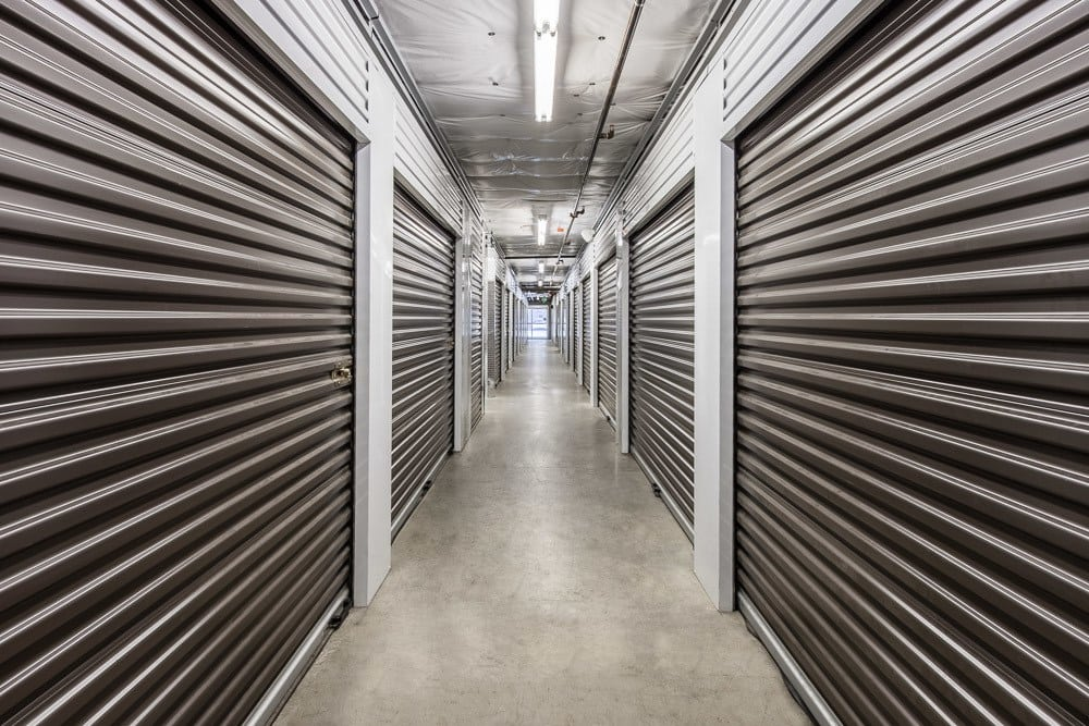 Hallway with clean storage units in Seattle, WA