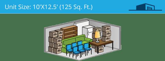 10x12.5 foot self storage unit