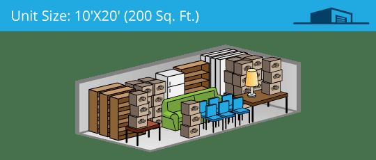 10x20 foot self storage unit