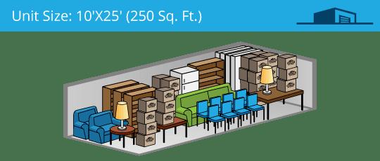 10x25 foot self storage unit