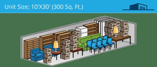 10x30 foot self storage unit
