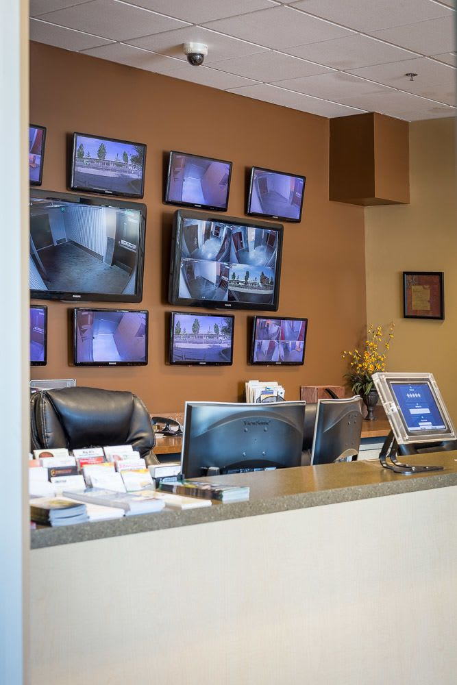 Monitors keep an eye on all areas of our self storage facility in Portland, OR