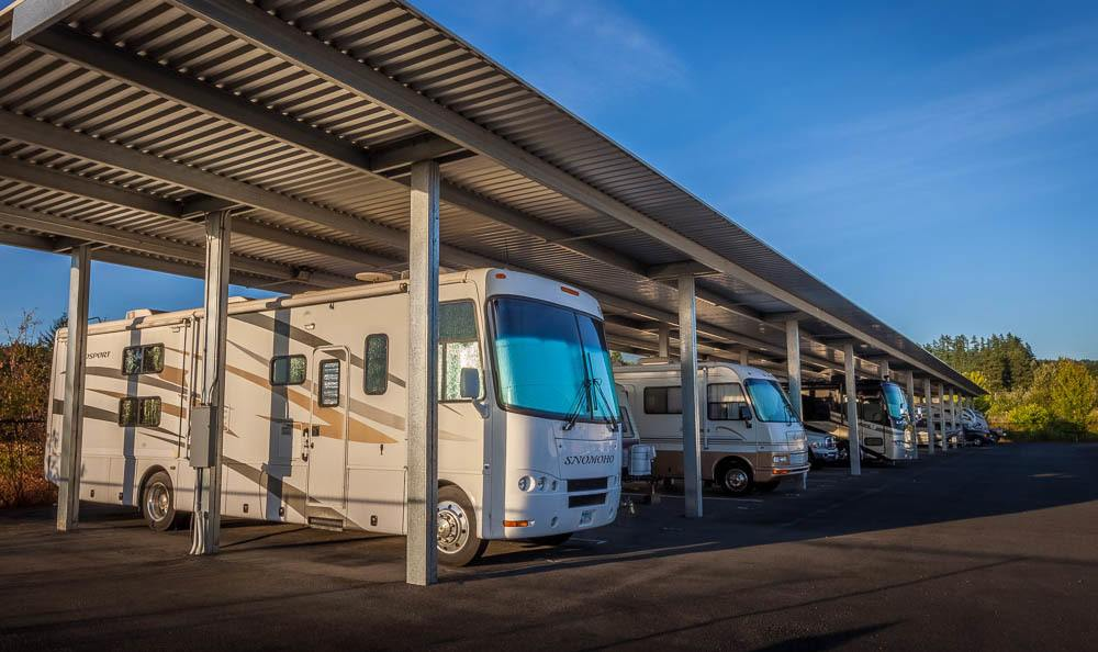 Exterior RV self storage in Enumclaw, Washington