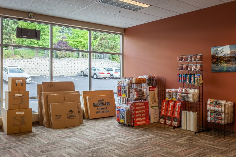 Packing supplies available at self storage in Kirkland, Washington.