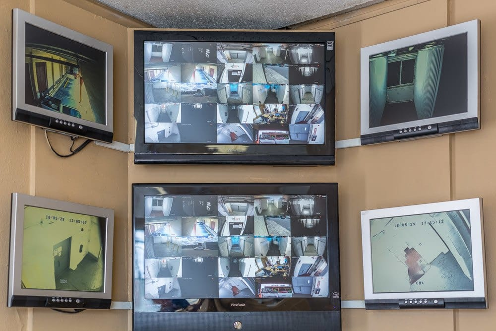 Security monitors in our self storage facility in Portland, Oregon.