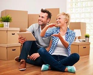 Couple preparing to move possessions in Portland, Oregon.