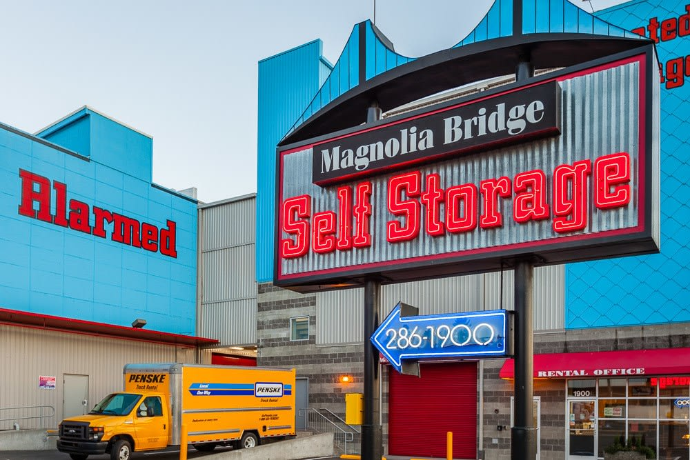 Our easy to find self storage sign in Seattle, WA.