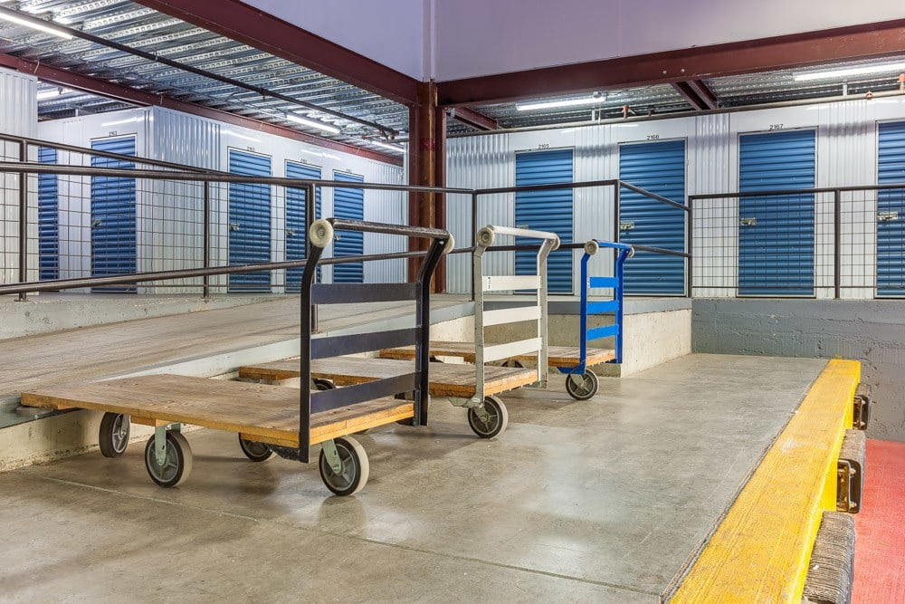 Readily available dollies for your convenience at our self storage facility in Seattle, Washington