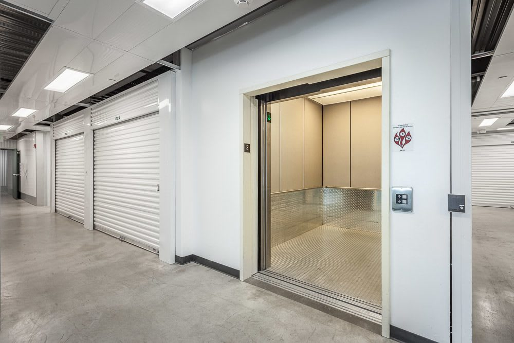 Our large access elevators fit all of your belongings at our storage facility in Bellevue, WA.