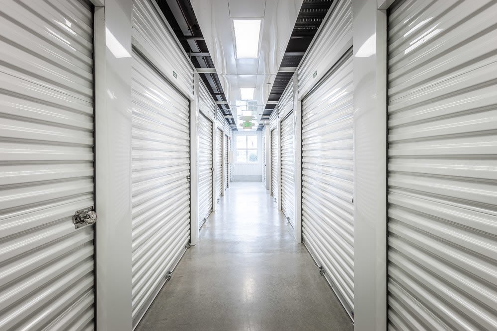 Our interior storage units are brightly lit for easy navigation in Bellevue, WA.
