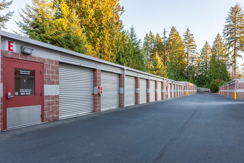 Many exterior units of various sizes at our self storage facility in Mill Creek, WA.