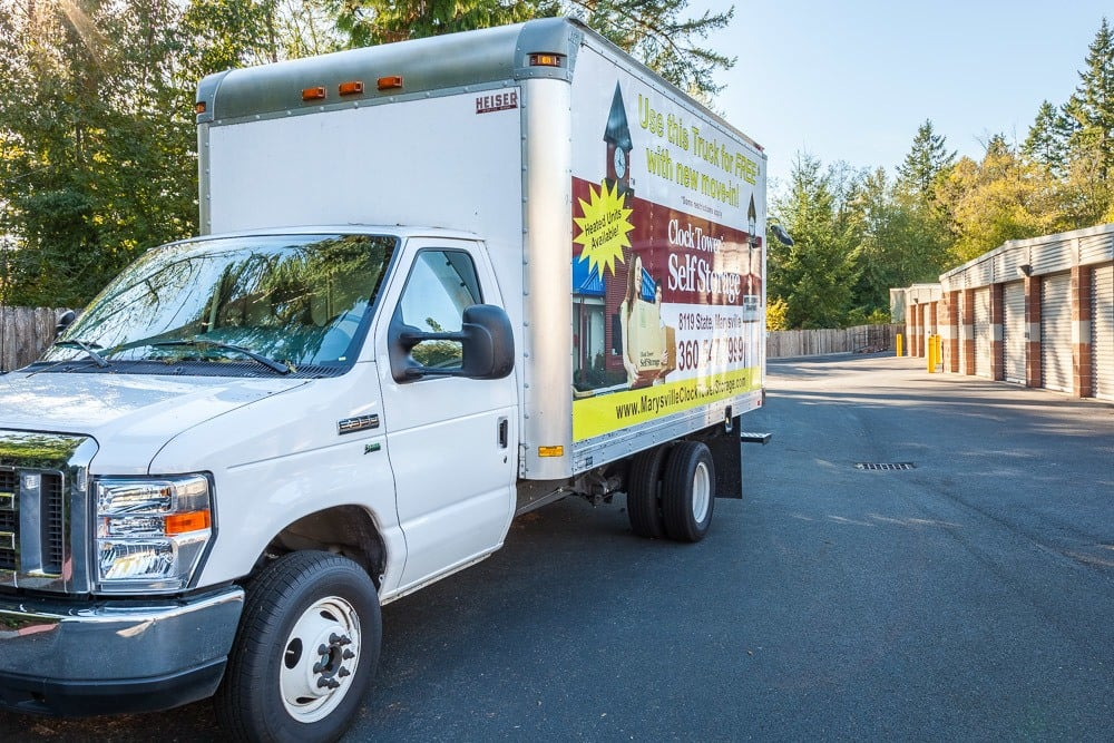 We offer a free truck with move in at our self storage facility in Mill Creek, WA.
