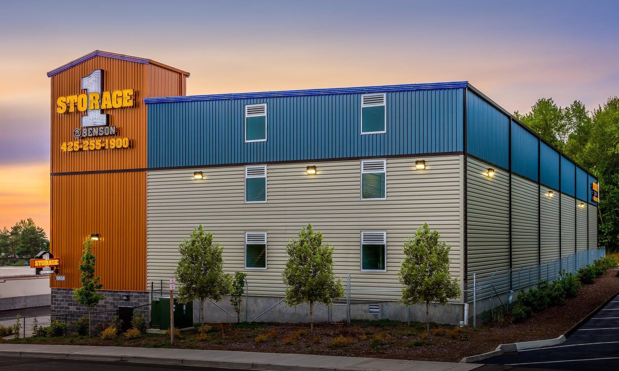 Easily recognizable exterior of self storage in Renton, Washington